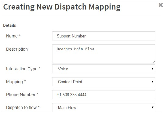 Step 7: Map the Flow to an igned Contact Number Dispatch Mapping on